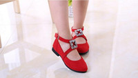 Wholesale Dancing Cow - New Kids Shoes Girl Rhinestone Princess shoes Dancing Shoes Suede Shoes 3 Colors 5 pairs l