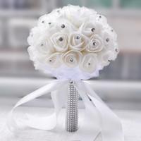 Wholesale White Rose Bridesmaid Bouquets - 2017 Crystal Bridal Bouquet White Ivory Artificial Rose Flower Rhinestone Centerpiece Bridesmaid Hand Flower Wedding Decoration