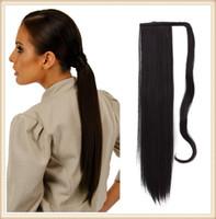 longo, preto, reto, ponytails venda por atacado-Sara mulheres cabelo pedaço longo 60cm, 24