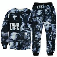 46eeb096c34de Wholesale-2016 hip hop 3D suits tracksuits Tupac 2pac Thug life sweatshirts    joggers pants 3d sportswear suits tracksuit plus size