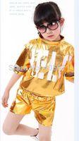 Wholesale girls hip hop dancewear - Candy color England letter jazz modern hip-hop sequins split suits Children's Dancewear Girls Performance Clothes Stage Costume