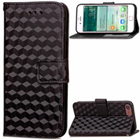 Wholesale Diamond Smart Wallets - diamond grain For Apple iPhone 6 6S 7 Plus Wallet Style Flip PU Leather Case Photo Frame Card Holder Smart Stand Skin Bag Cover