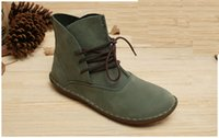 Wholesale Handmade Art Shoes - The new women's shoes handmade vintage leather women's boots, the art round head and the short boots