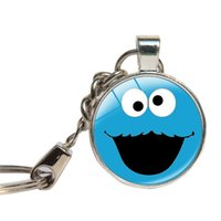 Wholesale Sesame Street Jewelry - Sesame Street Cookie Monster Keychains Glass Dome Elmo Children Gift Key Rings Key Chain Glass Cabochon Key Jewelry Pandent