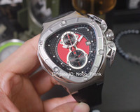 Wholesale Car Stopwatch - Special Mens Chronograph Triangle Watch Men Black Dial Lamborghini 66th Anniversary Swiss Quartz Men Sport Racing Car Leather Chrono Watches