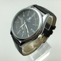 Wholesale Like Watches - sell like hot cakes! Refined luxury leather strap quartz watches, men's business casual waterproof calendar quartz watch Relogio Hotel