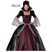 Wholesale Woman Vampire Sexy Costume - 2016 Sexy Gorgeous Halloween party Costumes Women Ampire zombie Costume Halloween Costume Halloween witch costume masquerade party queen