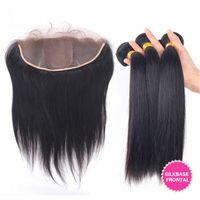 Wholesale unprocessed peruvian silk straight resale online - Unprocessed Peruvian Human Hair Weave With Silk Base Frontal Silky Straight Bundles Peruvian Hair With Silk Frontal Closure x4