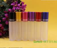 Wholesale 8ml Roll Perfume Bottles - Factory Price Glass Perfume 8ml Bottle Frosted Roll On Bottle Empty Essential Oil Cosmetic Container Refillable Portable perfume Vial