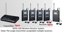 auricular estéreo receptor al por mayor-Boutique Takstar WPM-200 Sistema de monitor inalámbrico UHF Estéreo In-Ear Auriculares inalámbricos Transmisor 1pcs + 5pc Receptor + 5 auriculares envío gratis
