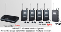 Wholesale Takstar Ear Monitors - Boutique Takstar WPM-200 UHF Wireless Monitor System Stereo In-Ear Wireless Headphones Transmitter 1pcs+5pc Receiver+5 earphone free ship