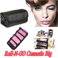 Wholesale travel makeup roll bag online - Roll N Go makeup capacity of Cosmetic Bag Large Capacity Multifunctional Storage Bag Rolls Up For Easy Travel beautician functional bag