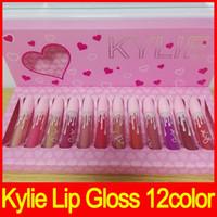 Wholesale Lipstick Pcs - 2017 Newest Kylie The Birthday Collection MATTE Liquid lipstick I want it all 12 pcs set 12Colors lipstick hot makeup free shipping
