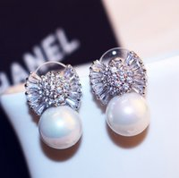 Wholesale Luxury Mother Pearl Fashion - Top Quality Platinum   Rose Gold Plated Luxury Zircon and Pearl Stud Earrings Fashion Women Luxury Jewelry Accessories Korean Stud Earrings