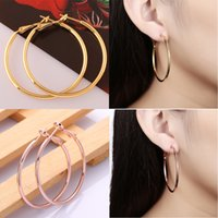 Wholesale Large Round Fashion Earrings - Big Hoop Earrings Fashion Statement Round Earring Hoops for Women 18K Rose Gold Plated Large Circle Earrings Luxury Bridal Jewellery Sets