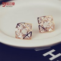 Wholesale Double Bow Ties - 2016 Hot Fashion Designer Jewelry fashion zircon double color flow tie hypoallergenic Butterfly Bow gold Stud Earrings for Women