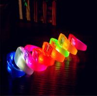 Wholesale Silicone Luminous Bangle - New Sound Control Led Flashing Silicone Bracelets Wristband Light Up Bangle Christmas Party Bar Concert Glow Stick Light Luminous Hand Ring