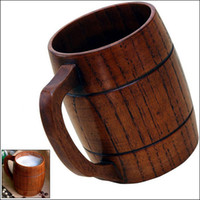 Wholesale Wood Barrels Beer - 400ml 15oz Handmade Barrel Juice Beer Mugs Wooden Tea Cups Wood Mug Drink Durable Cup wa4026