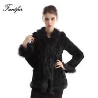 Wholesale Genuine Fur Trimmed Coats - Wholesale-FANTFUR Women Genuine Rabbit Fur Jacket With Raccoon Fur Collar Lady Winter Warmth Knit Rabbit Fur Long Sleeve Coat CR0033