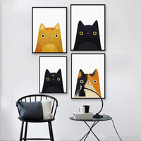 Wholesale modern face oil painting canvas - Modern Watercolor Kawaii Cat Face A4 Poster Print Japanese Wall Art Pictures Cute Girl Home Decor Canvas Painting No Frame Gifts