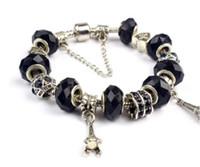 Wholesale Black Crystal Beads Fit Bracelet - Fashion Pandora Style Charm Bracelets Black 925 Murano Glass & Crystal European Charm Beads Eiffel Fits Charm Bracelets Bangles DIY Jewelry