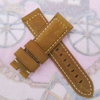 Wholesale Brown Leather Strap 24mm - 24mm 120 75mm luxury high quality Brown Nubuck Calf Leather Band Strap For LUNMINOR RADIOMIR Watch