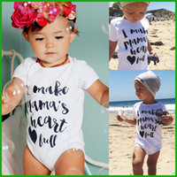 Wholesale Size Cotton Boy Shorts - Toddler baby rompers one-pieces white letter casual boys girls bodysuits infant children outfits summer beach lovely style free shipping