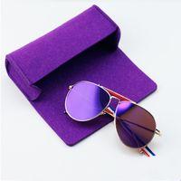 Wholesale Soft Case Zip - Fashion Pen Pencil Box Women Kids Eyeglasses Case Box Bag Soft Wool Tassel Zip Sunglasses Eye Glasses Makeup Brush Cases Boxs 17cm*7.5cm
