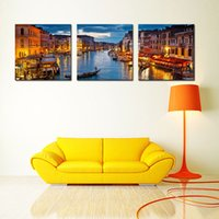 Wholesale venice oil paintings - 3 Picture Combination Wall Art Painting Venice Night View Picture Prints Artworks for Home Decoration with Wooden Framed Ready to Hang