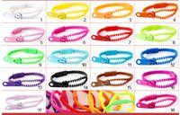 pulseira de zíper de plástico venda por atacado-100 pçs / lote moda de plástico zip zipper pulseira pulseiras misturadas cores partido homens mulheres boy girl aniversário amizade presente jóias