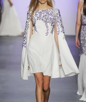 Wholesale Elegent White Dresses - TOP QUALITY Fashion 2016 Women Elegent White Blue Porcelain Print Designer Runway Summer Dress European Style Sweet Cloak Dress QC0410