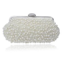 Wholesale vintage pearl bag - Women messenger beaded women vintage evening bags imitation pearl shell women bag shoulder bags,diamonds clutch bag for wedding
