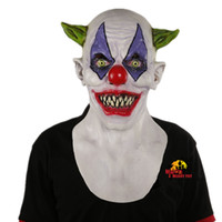 Wholesale Toys Full Men - X -Merry Toy Creepy Evil Scary Halloween Clown Mask Rubber Latex Green Horned Clown Masken Free Shipping