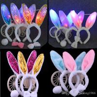 Wholesale Masquerade Headdress - LED Sparkling Rabbit Ears Headband Plush Sequins Headdress Multi Function Masquerade Birthday Party Head Decorative Articles 2 5qz R