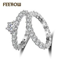 Wholesale precious stones for necklaces resale online - FEEROW Gorgeous Semi precious Stone Round Shape Lovers Fashion Combination Ring With Color Plating For Wedding FWRP155