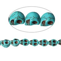 Wholesale Black Loose Skull Beads - Turquoise manmade Loose Beads Skull Malachite green Crack About 14x12mm,Hole:1.7mm,41.5cm,1 Strand(About 28 PCs) 2016 new