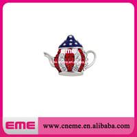 Wholesale Teapot Rhinestones - Hot Sale 100pcs lot 38mm Patriotic Tea Party Rhinestone Brooch Teapot Pin, Red, White and Blue