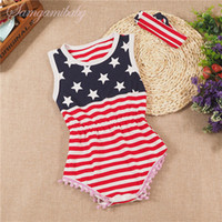 Wholesale Flag Romper - Ins hot 2016 Toddler Baby stars Rompers 2pcs set headband+romper Infants America flag jumpsuit Baby bobbles tassels rompers Jumpsuits