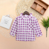 Wholesale Shirt Cotton One Color - Girls Plaid Shirts Kids Little Girl's Tops Long Sleeve Casual T-shirt Blouse One-piece Girl T Shirt 2-6T