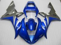 enjeksiyon kalıbı motosiklet parkur kiti toptan satış-YZFR1 02 03 için motosiklet Fairing kiti Enjeksiyon kalıp YZF R1 2002 2003 YZF1000 mavi gri ABS Fairings seti +