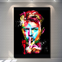 Wholesale Landscape Poster Paints - Colorful Modern Abstract David Bowie Portrait Painting Poster Printed on Canvas Poster Bar Pub Home Art Decor Custom Fashion