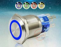 Wholesale Push Button Led Metal - LED Metal Push Button Switch 304 Stainless Steel 24V 1NO 1NC 19mm Dia Self Locking or Self Reset Momentary Waterproof