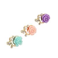 Wholesale Rose Anti Dust Plug - Rose Flower 3D Crystal Bead Pearl Anti Dust Plug Charms For 3.5mm Phone For Apple4 4S 5 For Samsung Galaxy S3 S4 For HTC