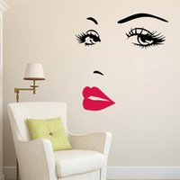 Wholesale Sexy Girl Posters - Sexy Girl Lip Eyes Wall Stickers Living Bedroom Decoration Home Decals Mual Art Poster DIY Vinyl Home Decor