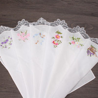 Wholesale Lace Hankies - Vintage Cotton Women Napkin Embroidered Butterfly Lace Flower Hankies Floral Assorted Cloth Portable Ladies Handkerchief