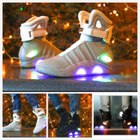 Wholesale Back Future Sneakers - AIR Mag Marty McFlys Sneakers LED Back To The Future Glow In The Dark Boots Top Quality Gray Black Charger Mag Casual Shoes