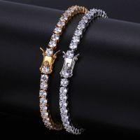Wholesale ice lock - Men Iced Out Round Cut Tennis Bracelet 6mm 4mm Zirconia Triple Lock Hiphop Jewelry 1 Row Cubic Luxury CZ Bracelets
