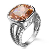 Wholesale Morganite Ring Silver Setting - 5 Pieces 1 lot Lucky Shine Friend Gift Sparkling Fire Morganite Crystal 925 Sterling Silver Rings Russia American Australia Wedding Rings