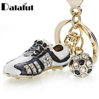 Wholesale blue purse shoes for sale - Group buy Crystal Football Soccer Shoes Rhinestone Keychains For Car Purse Bag Buckle Pendant Keyrings Key Chains Women Gift K258