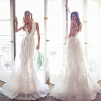Wholesale Vintage Bridal Photos - Bohemian Lace Wedding Dresses Deep V Neck Sleeveless A Line Wedding Gowns Vintage Long Beach Lurelly Newest Plus Size Bridal Dresses 2017